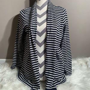 L.L Bean Size L Open Front Striped Sweater